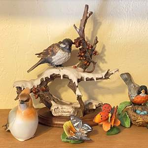 Lot # 224 Lot of Bird Figurines - Various Marks Lenox, USSR Maker, etc