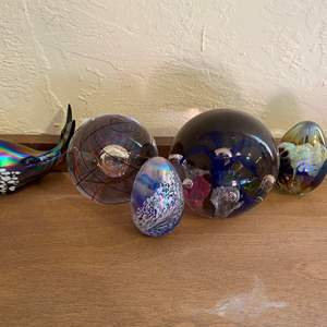 Lot # 227 Lot of Glass Figurines, Egg, and Paperweights
