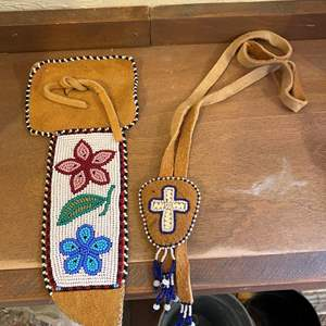 Lot # 239 Handmade Leather Beaded Sheath and Religious Cross Necklace