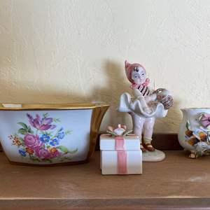 Lot # 245 Rose Theme Trinket Box, Bowl, Figurine, and Vase