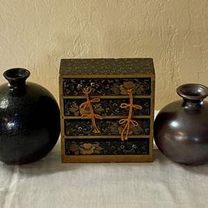 Lot # 255 Lot of Japan Vases and Small Jewelry Box