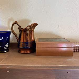 Lot # 256 Lot of Blue/Gold English Pitcher, Music Box, Hand-Painted Blue Cup, etc
