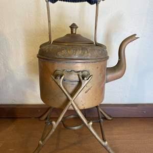 Lot # 257 Vintage Brass Kettle on Burner Stand