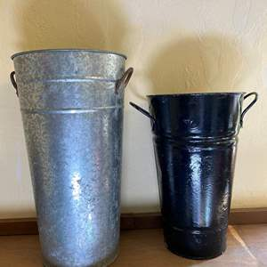Lot # 275 Tall Galvanized and Metal Floral Cans