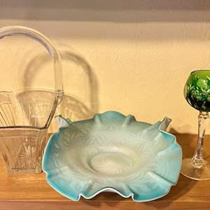 Lot # 279 Lot of Glass Basket, Stemware and Centerpiece