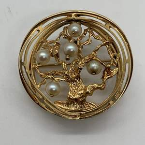 Lot # 8 14K Gold and Pearl Tree of Life Brooch