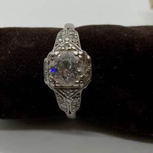 Lot # 10 Ladies Platinum Diamond Engagement Ring