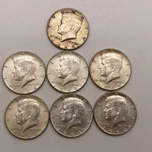Lot # 16 Lot of 1964 Kennedy Half Dollars Type 1