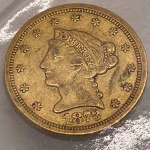 """Lot # 19 Liberty Head $2.5 1873 """"Closed 3"""" Gold Coin"""