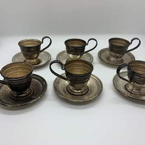 Lot # 23 Sterling Porcelain Cup Holders