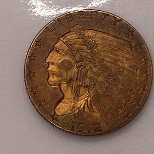 Lot # 27 Indian $2.5 1912 Gold Coin