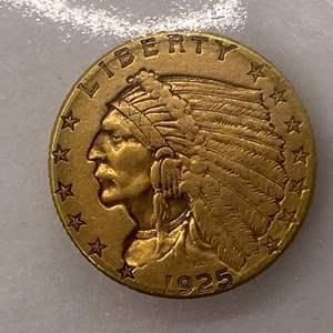 Lot # 29 Indian $2.5 1925-D Gold Coin