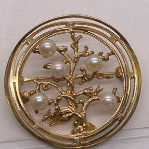 Lot # 38 14K Gold and Pearl Tree of Life Brooch