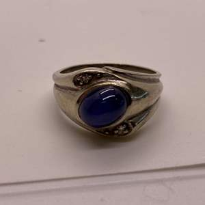 Lot # 40 Men's 14k White Gold Oval Star Sapphire and Round Diamond Ring