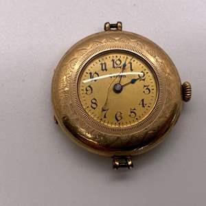 Lot # 42 Antique 14K Yellow Gold Open Face Pocket Watch
