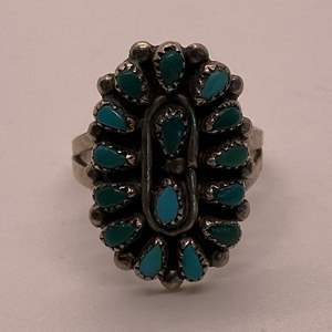 Lot # 51 Green and Blue Stone Ring