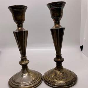 Lot # 57 L R Sterling Weighted Candlesticks