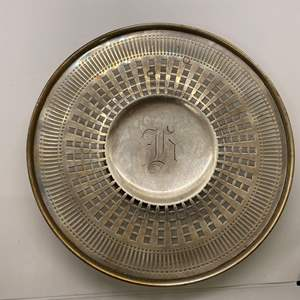 """Lot # 59 """"W"""" Sterling Footed Plate"""