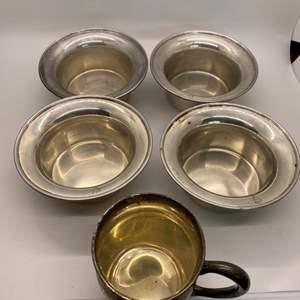 Lot # 61 Lot of Sterling: 4 Shreve Treat & Eacret Bowls & Creamer