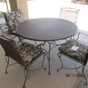 """2-48"""" Round Wrought Iron Table/4-Chairs & Pads"""
