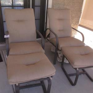 5- 2-Patio Chairs with Ottomans & Pads