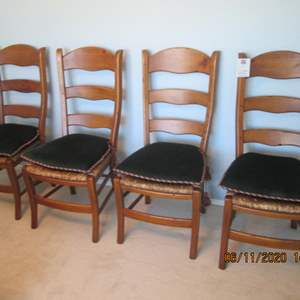 13-4-Ladderback Chairs with Rush Seats & Upholstered Cushions