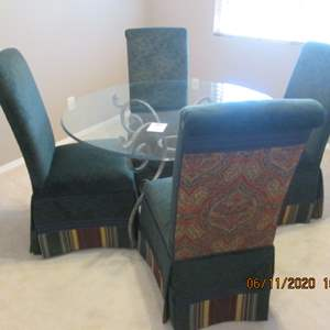 """14-48"""" Round Metal/Glass Table/4-Upholstered Chairs"""