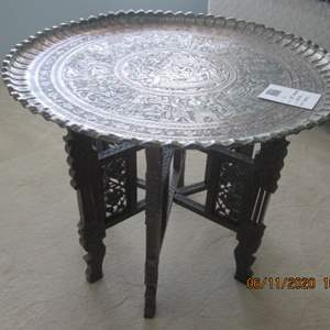 """16-28"""" Brass Top/Wood Base Accent Table, India"""