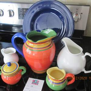 31-Colorful Dishes + Pitcher & Creamer