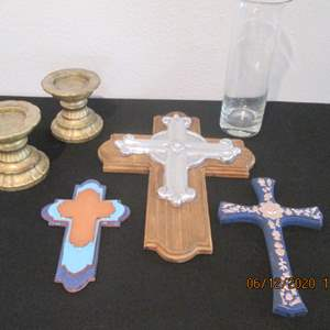 43-Crosses, Vase & Candle Holders, 6-Pieces