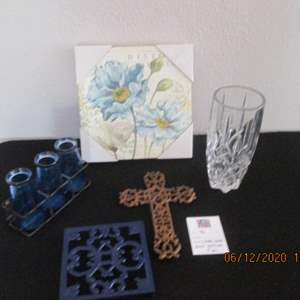 46-Cross, Vase, Blue Bottles in Stand, Picture, 5-Pieces