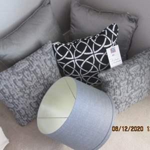 47-5-Assorted Throw Pillows + Lamp Shade, Grey Tones