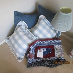 48-4-Throw Pillows, Throw & Lamp, Blue Tones
