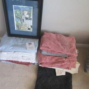 49-Assorted Linens, Curtains + Picture