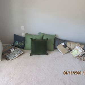 50-Assorted Throw Pillows, Fabrics, Curtains & Lampshade