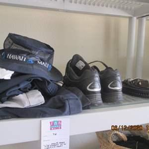 76-Assorted Men's Clothing; Shoes(9), 4 pr. shorts(36), Hat & T-Shirt