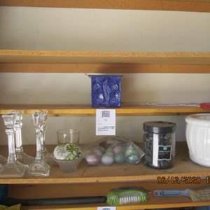 92-Assorted Candle Holders, Vase, Eggs, Black River Rock