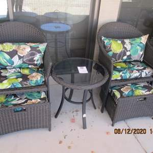 115-2 Wicker Chairs with Pads & Glass Top Table, Comfortable, Great Shape