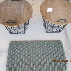 116-2-Storage Tables with Metal Bases + Door Mat