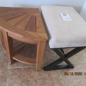 122-Teak Table & Stool (teak table can be used in shower)