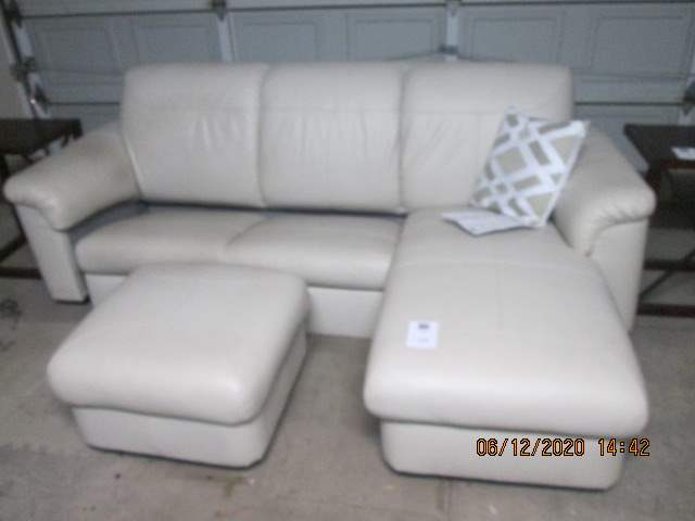 126-Ikea Leather Sofa/Chaise Unit with Ottoman (Chaise can be used to the left or right side) (main image)