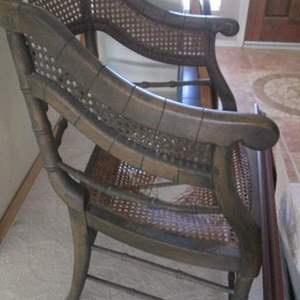 25-Cane Chair, Needs Repair & TLC + Tin + Pictures