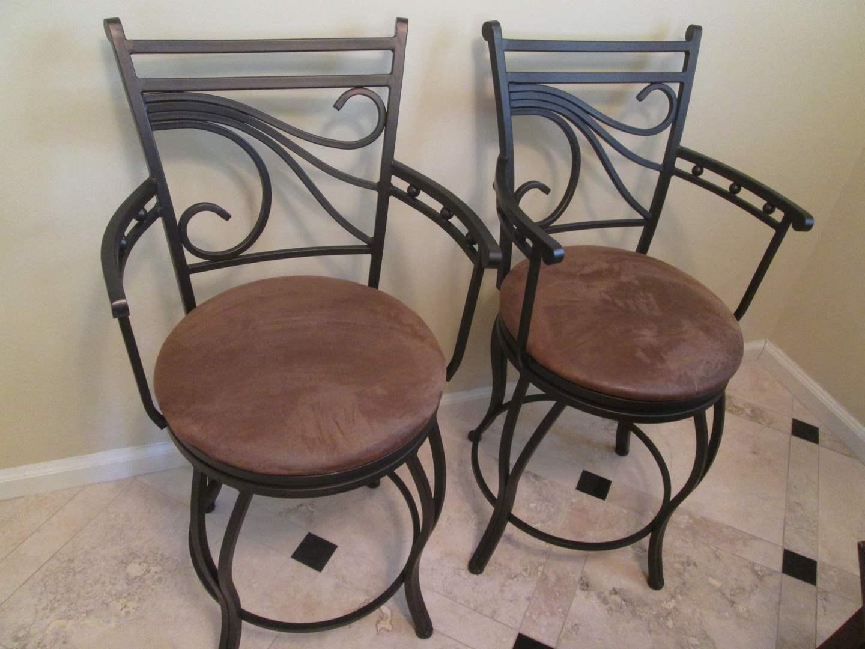 Lot # 14 - 2- Bar Stools, Metal Frames/Upholstered Seats (main image)