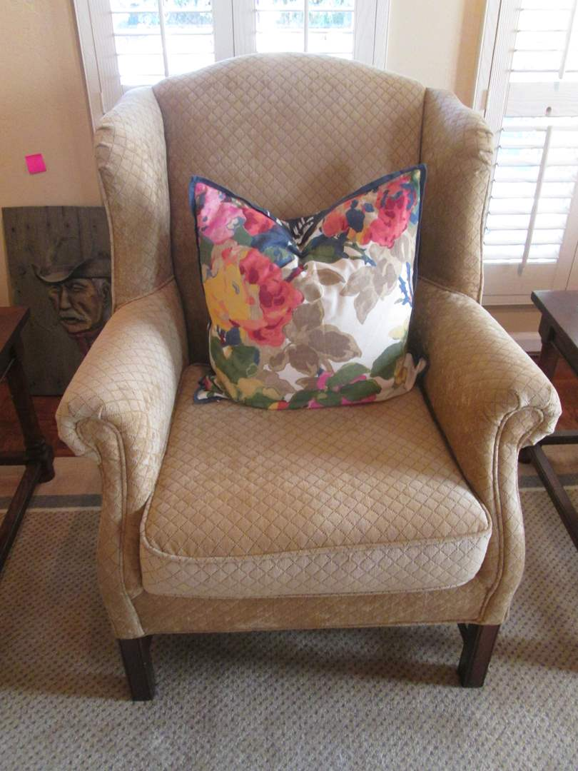 Lot # 17 - 2-Wing-Back Chairs, Neutral Geometric Fabric (main image)