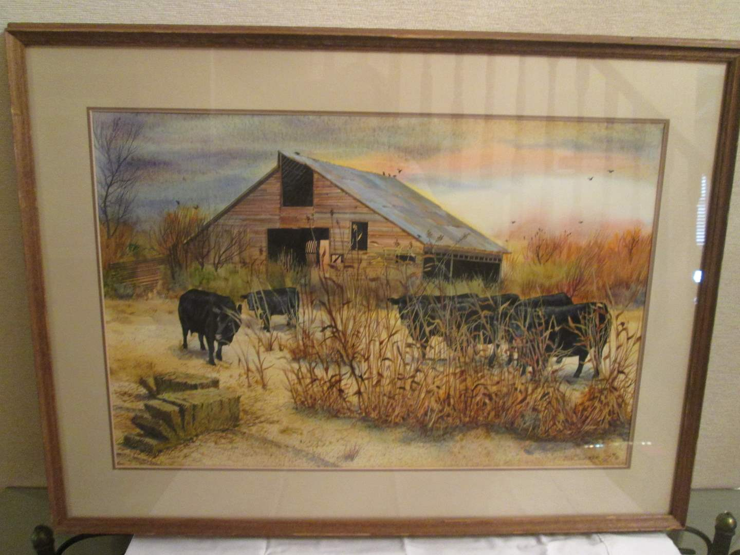"Lot # 20 - ""Barn & Black Angus"" Watercolor by Schairer (main image)"