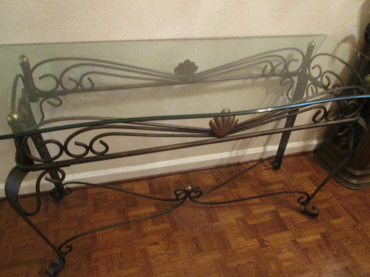 Lot # 31 - Console Table, Glass Top/Metal Base (main image)