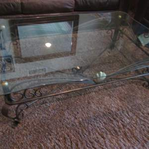 Auction Thumbnail for: Lot # 32 - Coffee Table, Glass Top/Metal Base