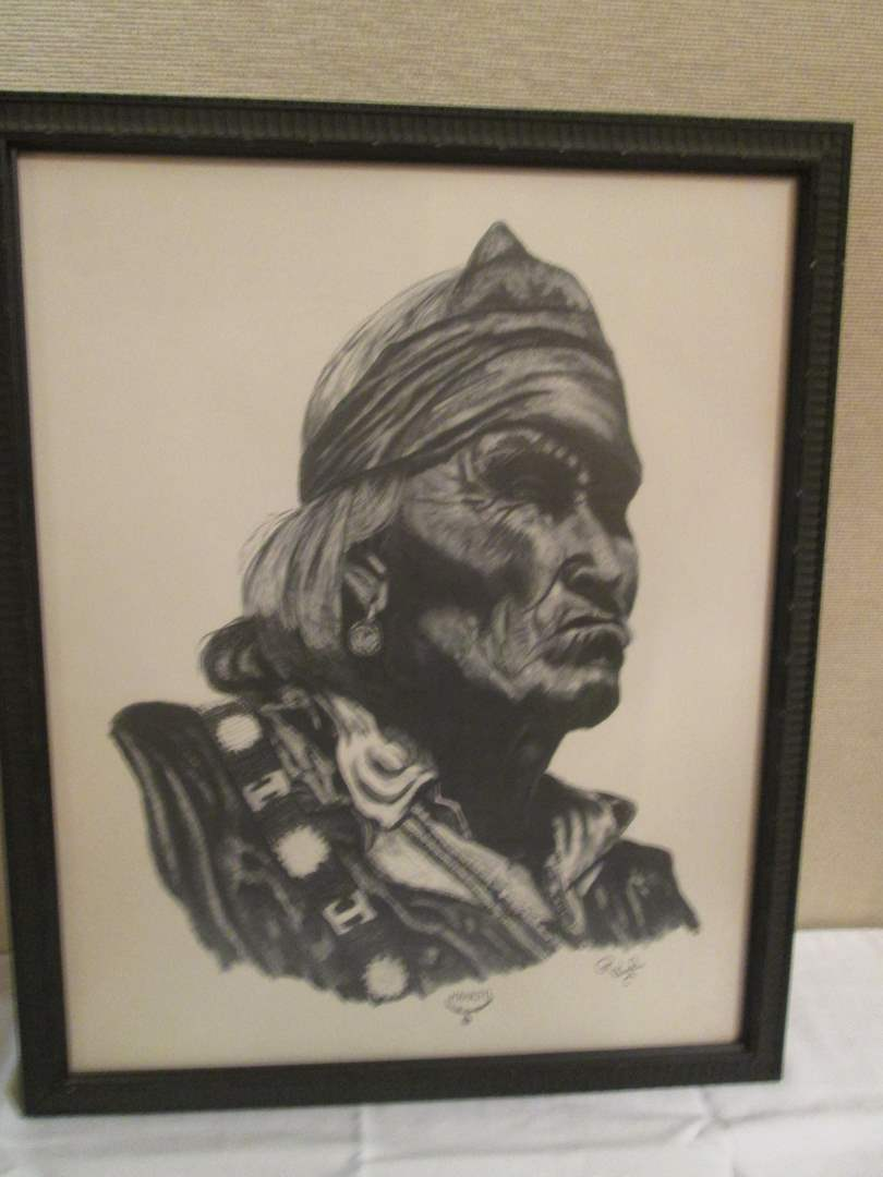 Lot # 34 - Portraiture Charcoal by Vaughn (main image)