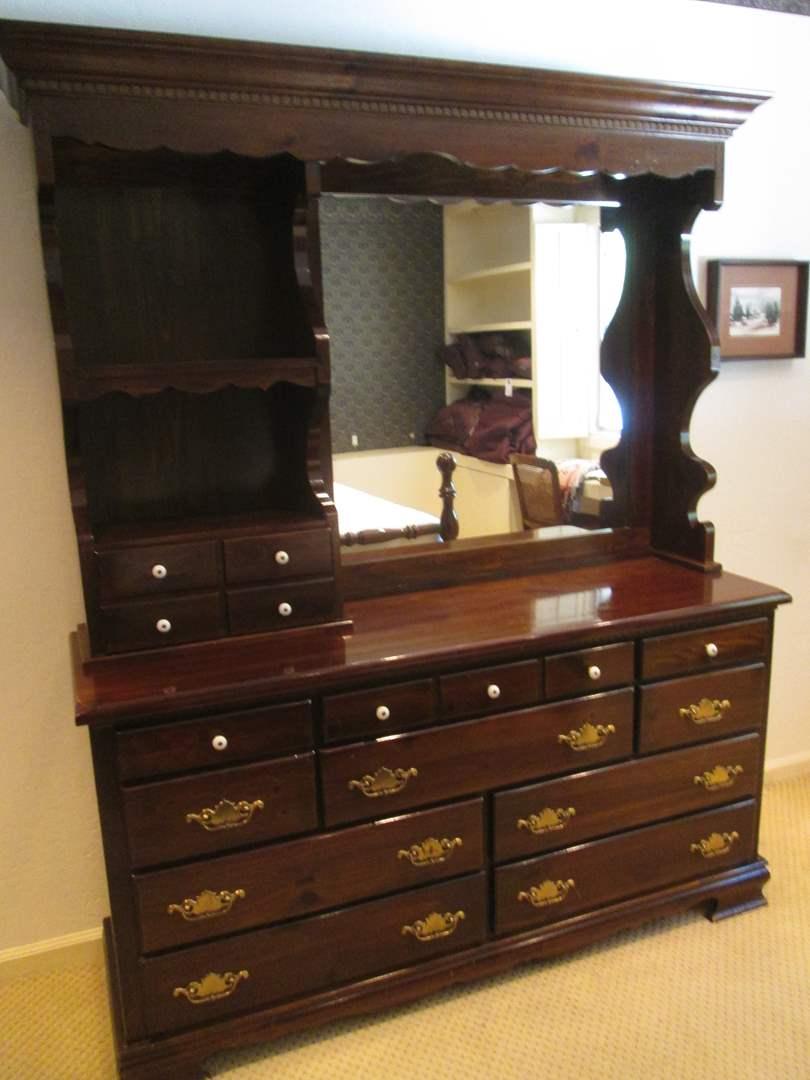 "Lot # 52 - 62"" Dresser & Mirror Hutch (main image)"