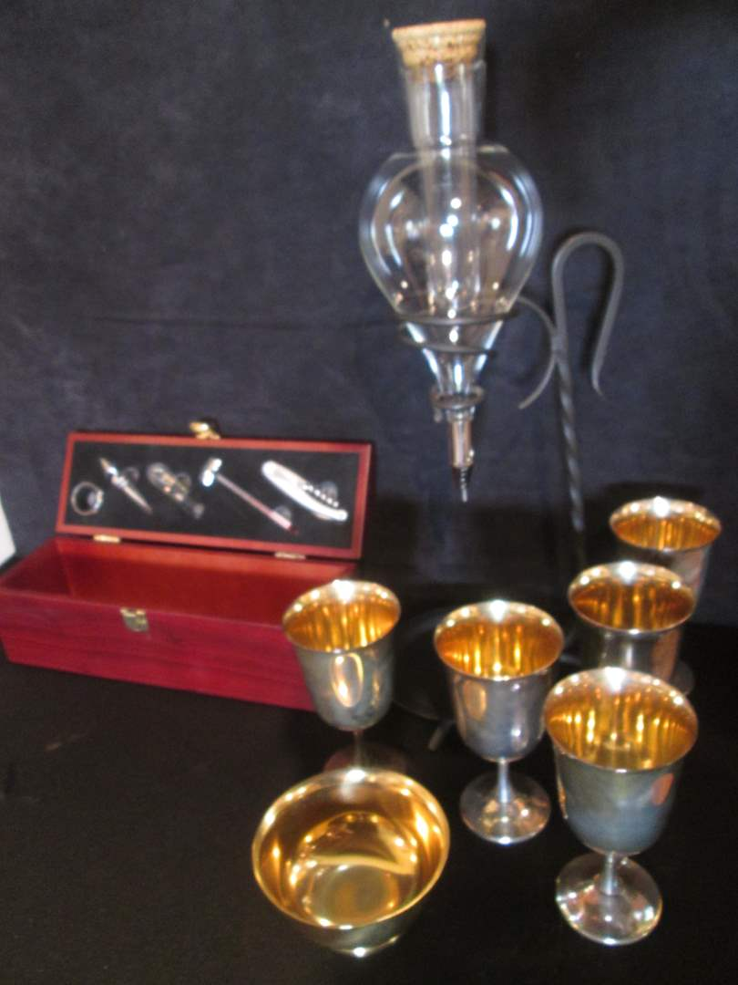 Lot # 69 - Oneida Wine Set & 6-Goblets (main image)
